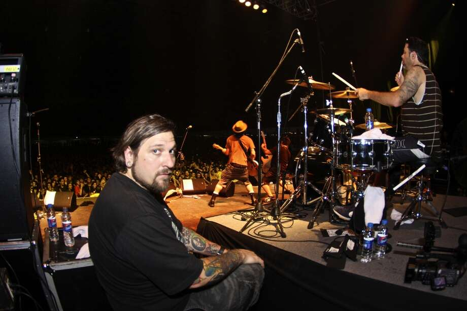 Jeff Neumann onstage during a NOFX show in South America. Photo: Courtesy Of Jeff Neumann