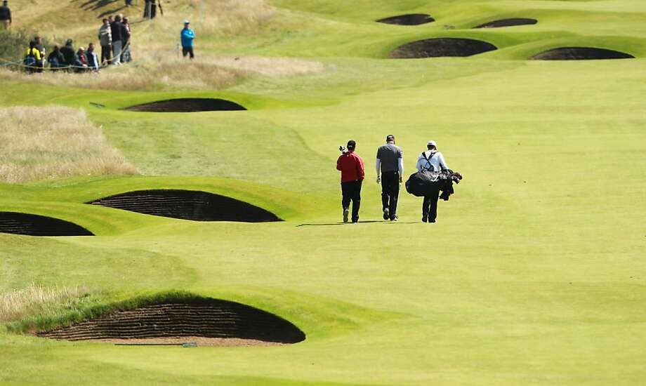 View of bunkers on the 7th hole during practice for the 2012 British Open Golf Championship at Royal Lytham & St Anne's in Lytham, north-west England, on July 18, 2012 ahead of the Open Championship which begins on July 19. AFP PHOTO / PETER MUHLYPETER MUHLY/AFP/GettyImages Photo: Peter Muhly, AFP/Getty Images