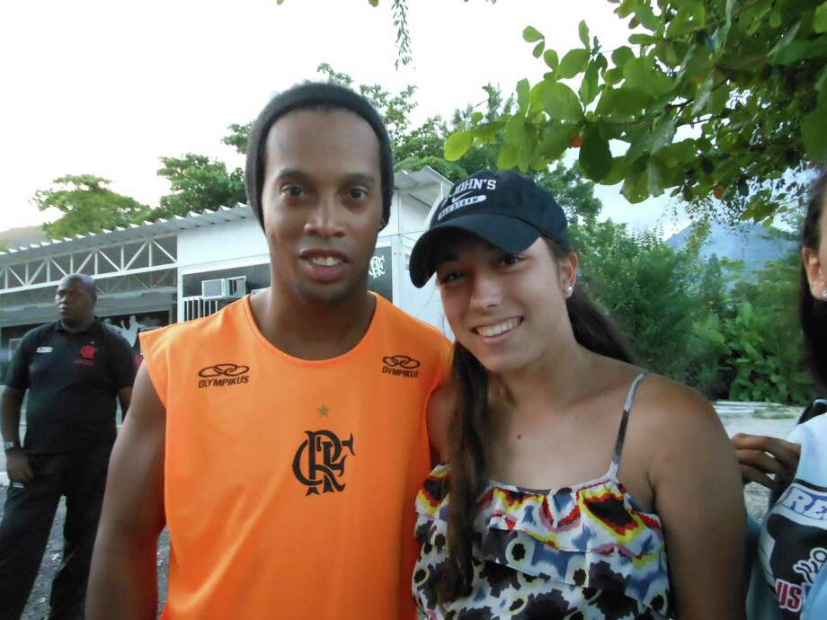 Glens Falls soccer star Miranda Haraughty and Brazilian soccer star Ronaldinho. Haraughty's Olympic Development Program team traveled to Brazil for a week of training and games.