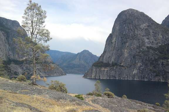Looking across Hetch Hetchy from the trail above the lake.