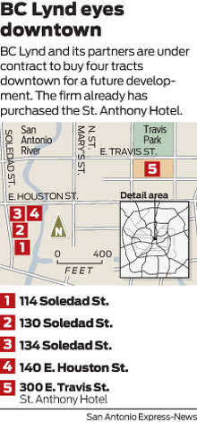 BC Lynd and its partners are under contract to buy four tracts downtown for a future development. The firm already has purchased the St. Anthony Hotel.  Photo: Harry Thomas