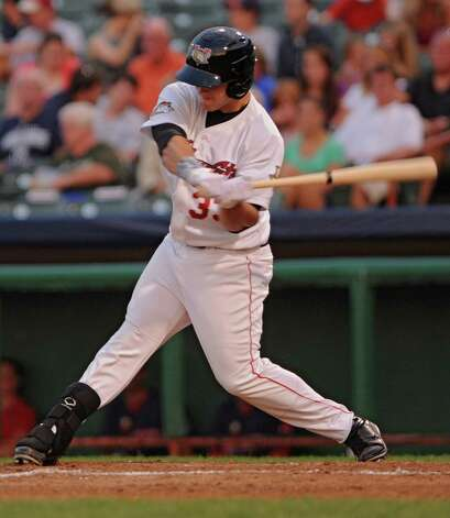 ValleyCats batter Preston Tucker swings for the ball during a baseball game against Lowell at the Joe Bruno Stadium Wednesday, July 18, 2012 in Troy, N.Y.  (Lori Van Buren / Times Union) Photo: Lori Van Buren