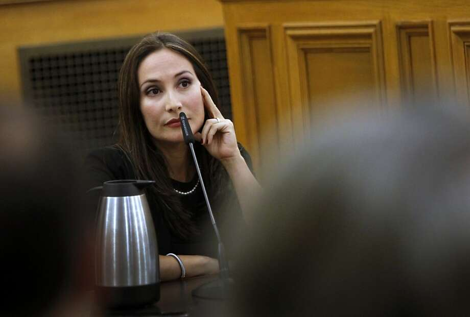 Eliana Lopez, wife of suspended Sheriff Ross Mirkarimi, testifies at the Ethics Commission hearing at S.F. City Hall. Photo: Sarah Rice, Special To The Chronicle