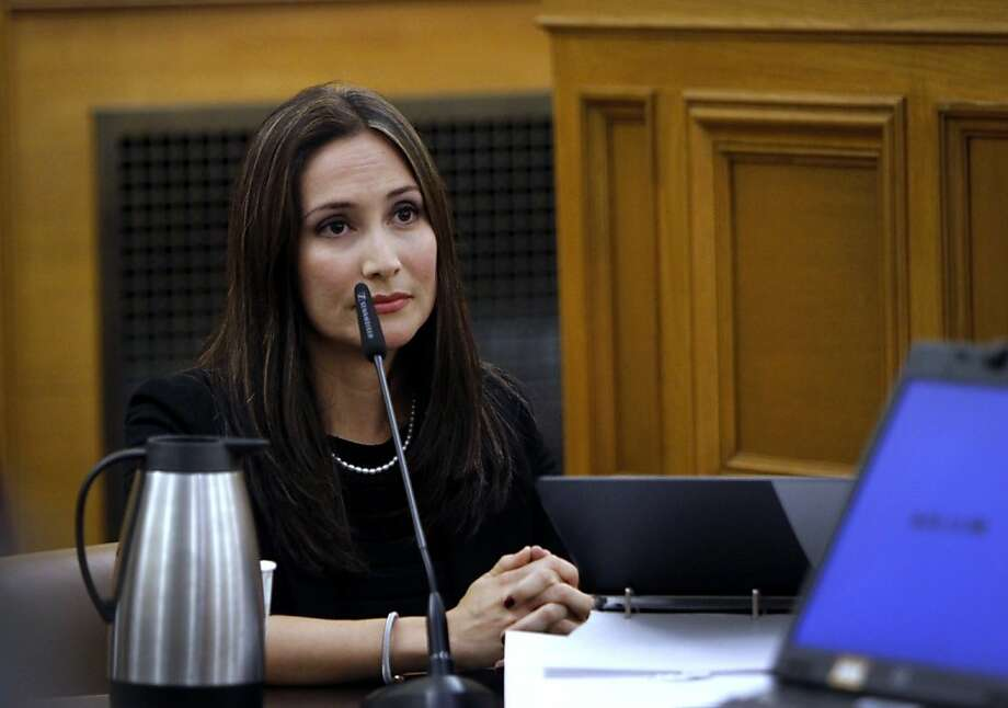 Eliana Lopez, wife of suspended Sheriff Ross Mirkarimi, testifies at the Ethics Commission hearing for her husband in San Francisco, Calif., Wednesday, July 18, 2012. Photo: Sarah Rice, Special To The Chronicle