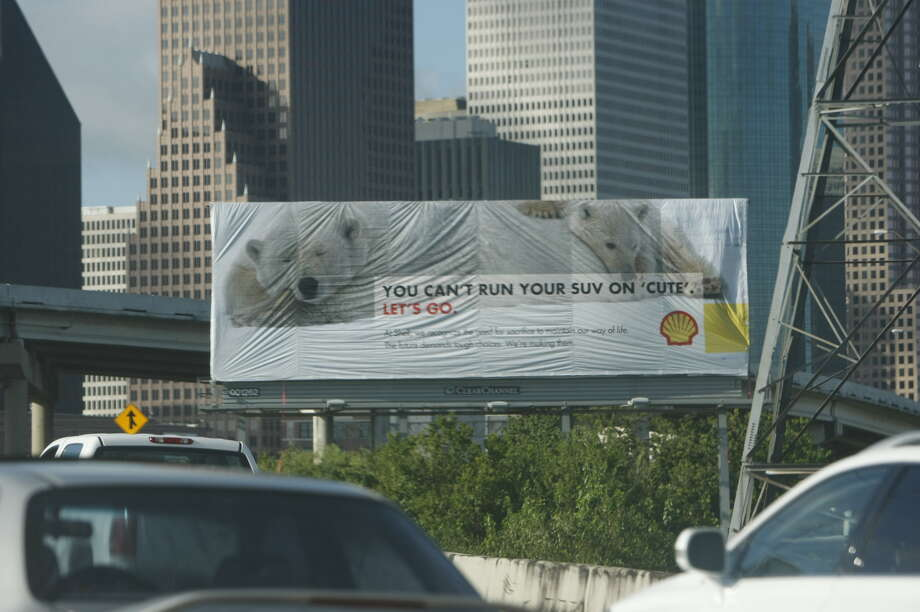 Greenpeace put up a billboard that mimics Shell Oil advertisements off of Interstate 45 near downtown Houston. Photo: Johnny Hanson