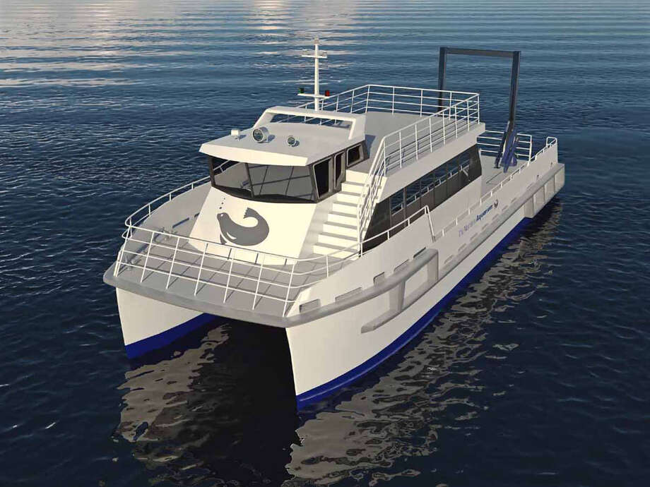 Artist rendering of a proposed $2.5 million, 65-foot catamaran hybrid research vessel The Maritime Aquarium in Norwalk is currently raising funds to buy to replace its 33-year-old diesel trawler. Photo: Contributed Photo