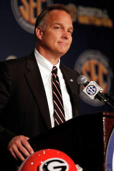 Georgia coach Mark Richt speaks to the media at the Southeastern Conference NCAA college football me
