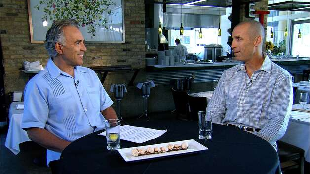Bob Rivard chats with chef/restaurant owner Andrew Weissman on the pilot for his new KLRN interview show. Photo: KLRN