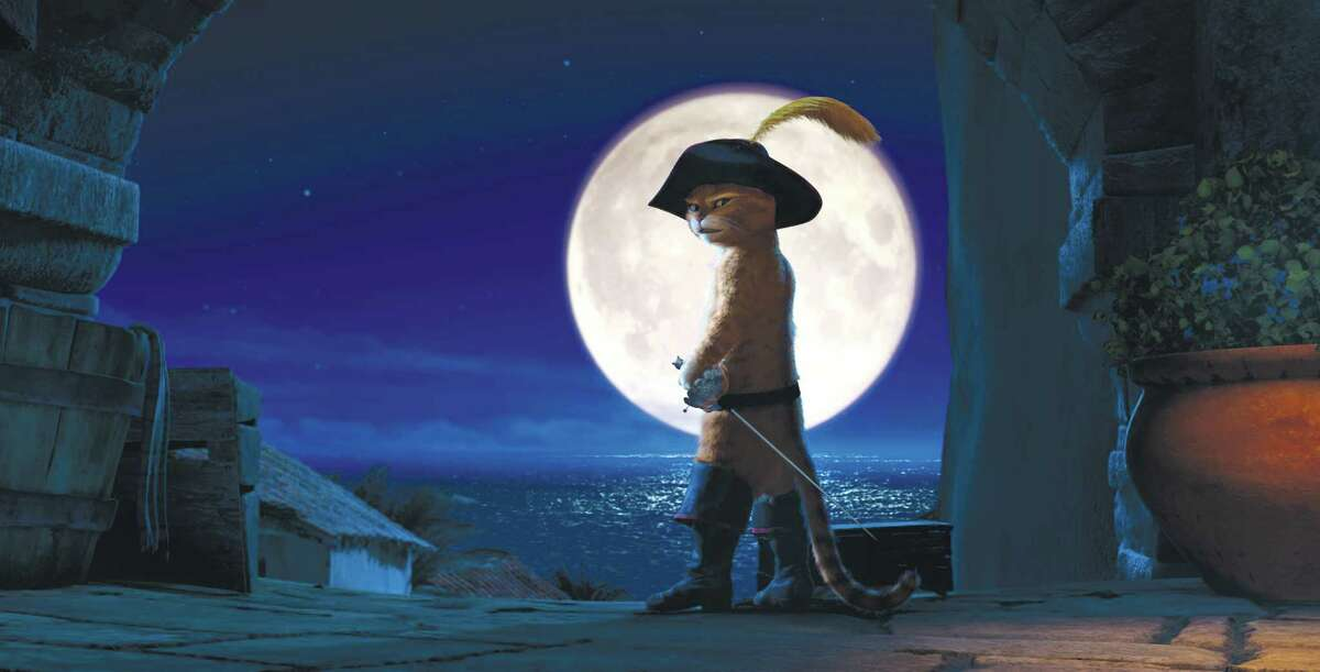 """In this image released by Paramount Pictures, Puss in Boots, voiced by Antonio Banderas, is shown in a scene from """"Puss in Boots."""" The film was nominated Monday, Dec. 5, 2011, for best animated film at the Annie Awards. Presented by the International Animated Film Society, the Annie Awards will be handed out Feb. 4 at a ceremony in Los Angeles. (AP Photo/Paramount Pictures)"""