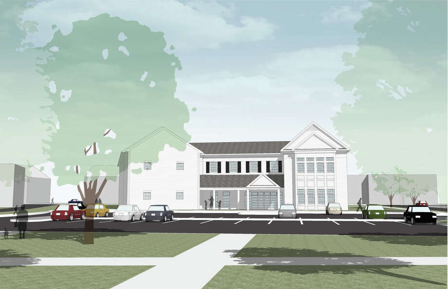 Preliminary drawing of Bethel Public Library with new parking lot if old town hall is demolished. Photo: Contributed Photo