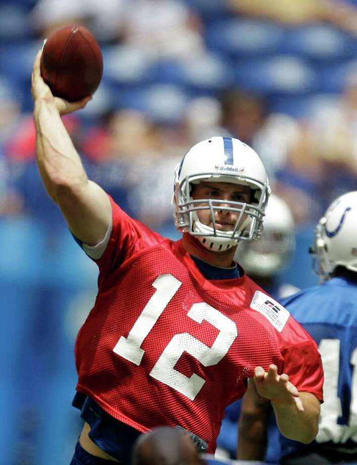 FILE- In tihs June 13, 2012, file photo, Indianapolis Colts quarterback Andrew Luck throws during NFL football practice, Wednesday, June 13, 2012, in Indianapolis.  The Colts have signed Luck, the No. 1 overall pick in the draft. The quarterback's agent and uncle, Will Wilson, confirmed Thursday, July 19, 2012, that the deal had been completed. Terms were not immediately released. Photo: AP