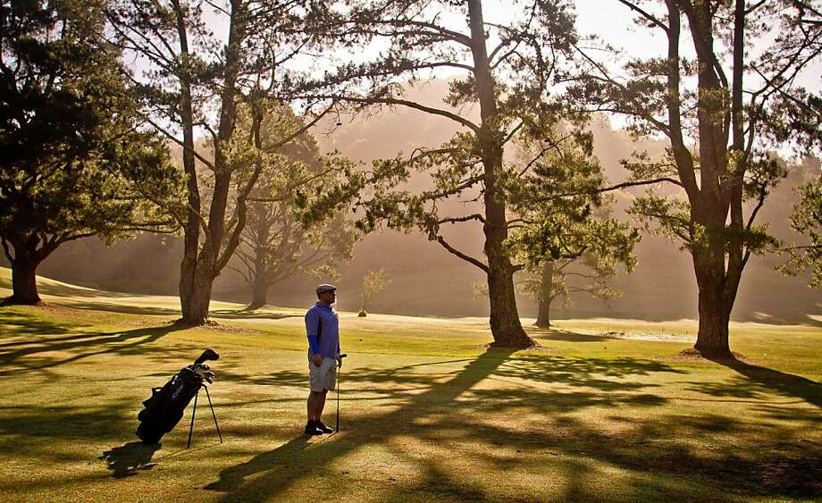 When Patrick Mundy arrives at the Mill Valley Golf Course in the early morning, the first tee time is not for an hour or two, and the mowers aren't out. Only the crows are there to cackle. Photo: John Storey, Special To The Chronicle