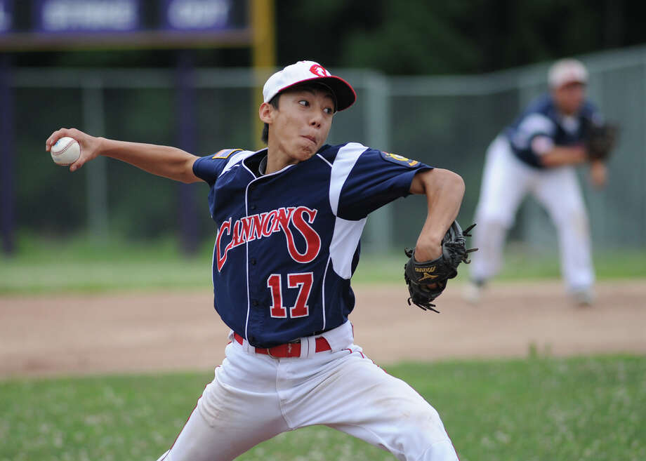 Greenwich Cannons pitcher Keigo Fujikura throws during the Greenwich vs. Stamford Junior Legion baseball game, Thursday night at Westhill High School in Stamford, July 19, 2012. Photo: Bob Luckey / Greenwich Time