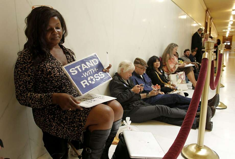 Ross Mirkarimi supporter, Paulette Brown waits outside the ethics hearing room at City Hall in San Francisco, Ca., on Thursday July 19, 2012. Photo: Michael Macor, The Chronicle