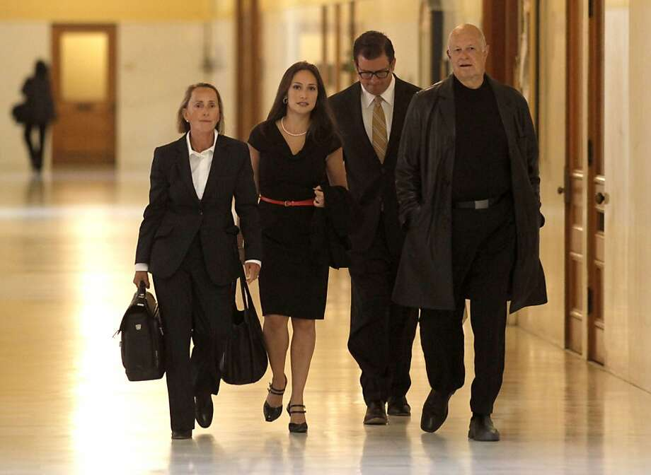 Eliana Lopez, (second from left) wife of Ross Mirkarimi, arrives with her legal team at City Hall in San Francisco, Ca., on Thursday July 19, 2012. Photo: Michael Macor, The Chronicle