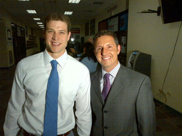 WNYT weekend anchor Andrew Catalon, right, with Sacramento Kings guard and Glens Falls native Jimmer Fredette. (Photo courtesy Andrew Catalon)