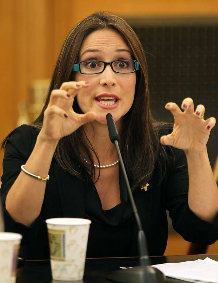 Eliana Lopez, wife of suspended Sheriff Ross Mirkarimi, testifies at the Ethics Commission hearing on behalf of her husband Thursday July 19, 2012 in San Francisco Calif. Photo: Lance Iversen, The Chronicle