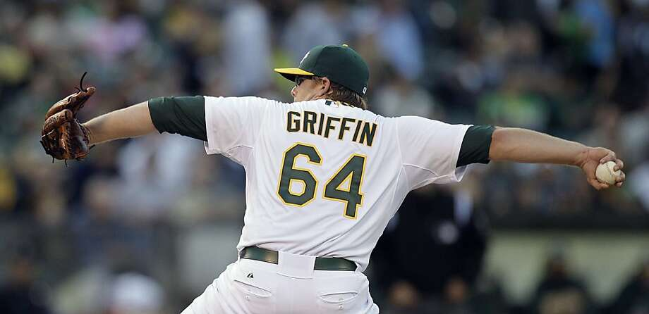 Oakland Athletics' A.J. Griffin works against the New York Yankees in the first inning of a baseball game, Thursday, July 19, 2012, in Oakland, Calif. (AP Photo/Ben Margot) Photo: Ben Margot, Associated Press