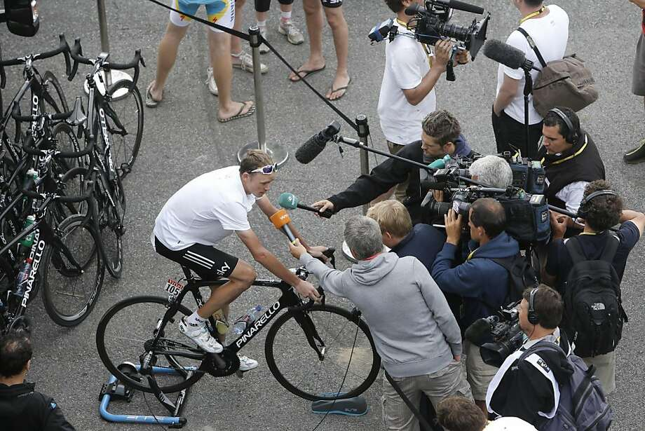 Christopher Froome of Britain is being interviewed after the 17th stage of the Tour de France cycling race over 143.5 kilometers (89.2 miles) with start in Bagneres-de-Luchon and finish in Peyragudes, Pyrenees region, France, Thursday July 19, 2012. (AP Photo/Laurent Cipriani) Photo: Laurent Cipriani, Associated Press