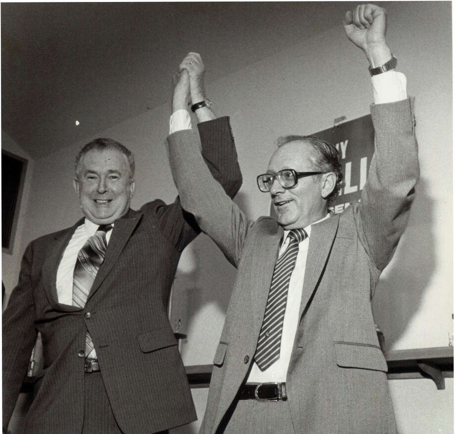 William O'Neill (left) was Connecticut's governor in 1988. He served two-an-a-half terms from 1980-1991.  Photo: File Photo