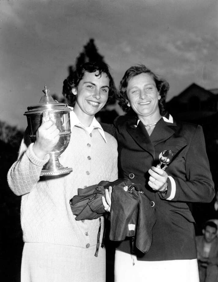 Babe Zaharias, right, and Claire Doran of Cleveland, Ohio, pose after the Women's Titleholders Championship golf tournament at Augusta National Course in Augusta, Ga. on March 19, 1950. Zaharias, winning the championship, set a new record of 298 for the fourth round. Doran was runner up. (AP Photo/Rudolph Faircloth) Photo: RUDOLPH FAIRCLOTH, STF / AP1950