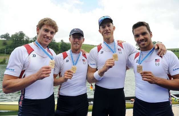 Giuseppe Lanzone (pictured at far right) | Age: 29 | Sport: rowing