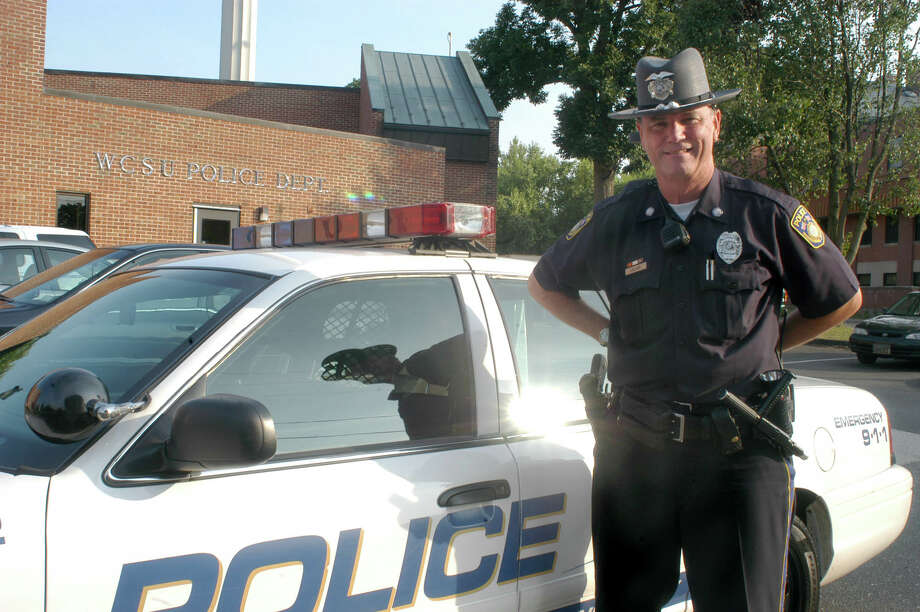 Western Connecticut State University Police Officer James LaClair was recently honored for saving the life of a young man at the westside campus last year. Photo: Staff Photo