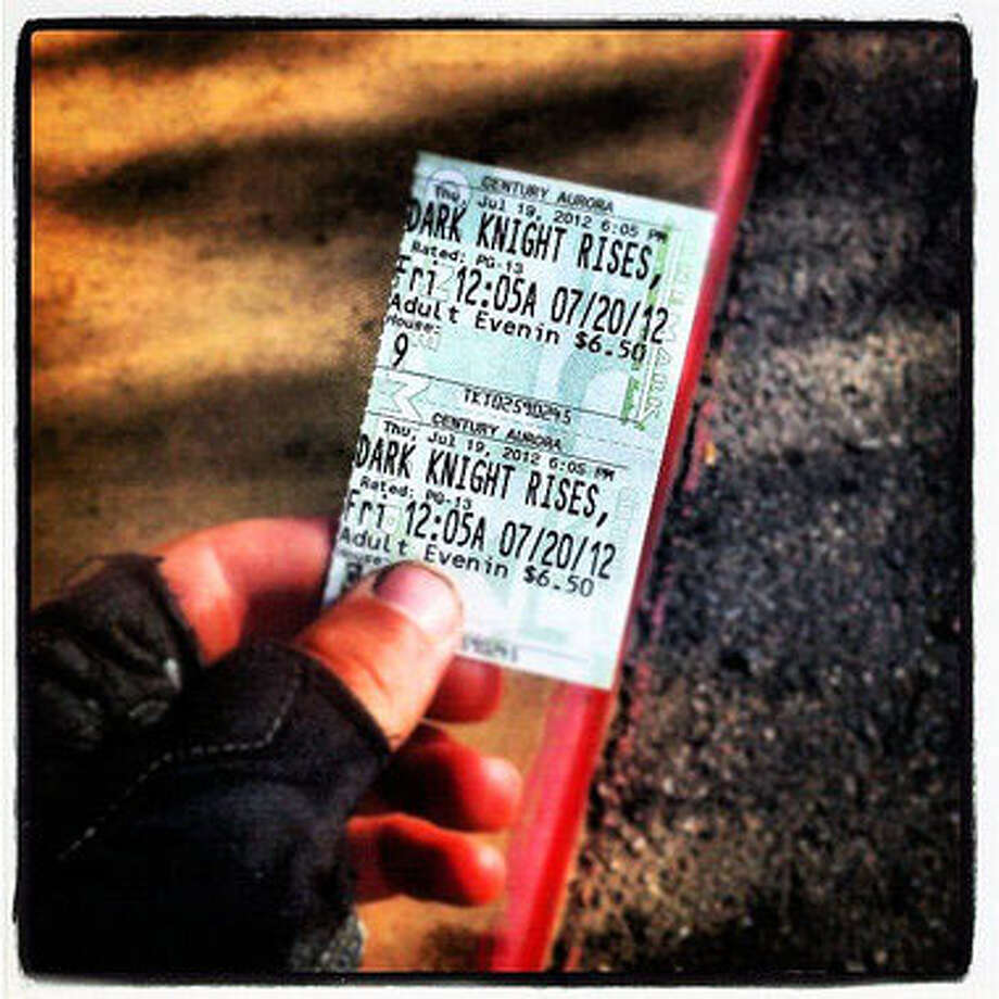 "After buying his ticket to ""The Dark Knight"", Stephen Barton posted a photo of it. Photo: Contributed Photo"