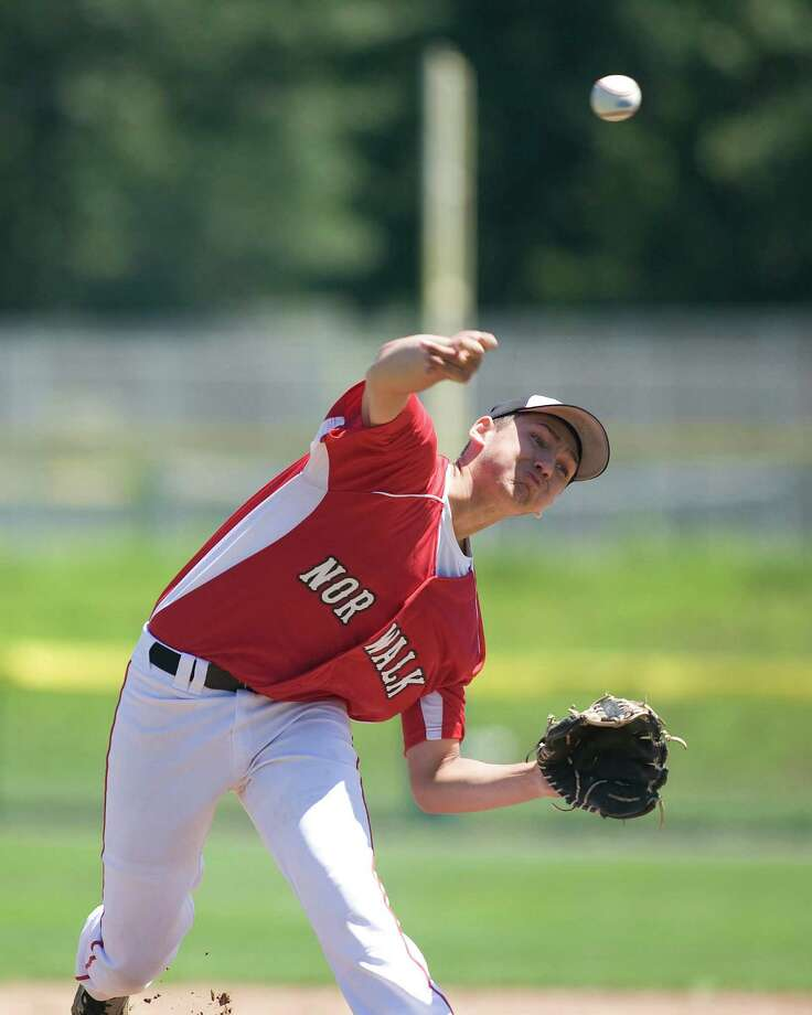 Norwalk's Christian Lengyl drew the starting pitching assignment against Pomperaug in the Babe Ruth 14-year-old state championship game Saturday at Newtown High School. Photo: Barry Horn