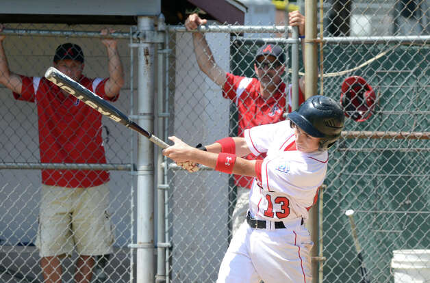 Fairfield American's Biagio Paoletta (13) at bat during the Sectional Little League baseball game between Fairfield American and Annex at Southington Recreational Park in Plantsville on Saturday, July 21, 2012. Photo: Amy Mortensen / Connecticut Post Freelance
