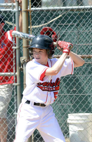 Fairfield American's Ryan Meury (5) at bat during the Sectional Little League baseball game between Fairfield American and Annex at Southington Recreational Park in Plantsville on Saturday, July 21, 2012. Photo: Amy Mortensen / Connecticut Post Freelance