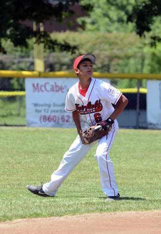 Fairfield American's Michael Ghiorzi (6) in the field during the Sectional Little League baseball game between Fairfield American and Annex at Southington Recreational Park in Plantsville on Saturday, July 21, 2012. Photo: Amy Mortensen / Connecticut Post Freelance