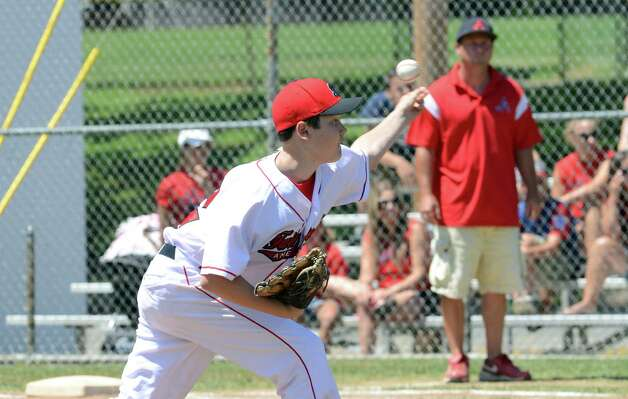 Fairfield American's Matt Kubel (12) pitches during the Sectional Little League baseball game between Fairfield American and Annex at Southington Recreational Park in Plantsville on Saturday, July 21, 2012. Photo: Amy Mortensen / Connecticut Post Freelance