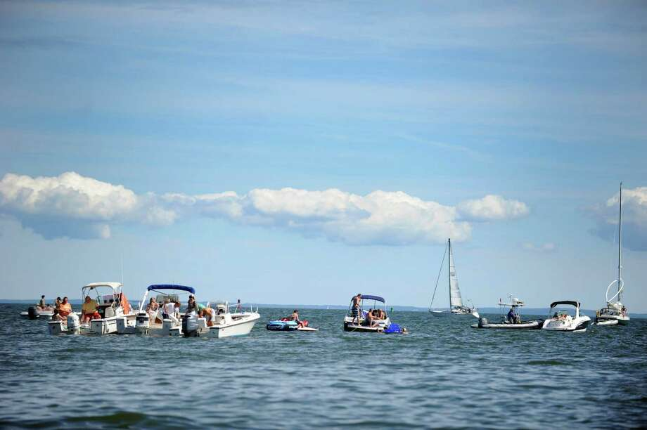 Boats fill the Long Island Sound during the Gathering of the Vibes at Seaside Park in Bridgeport, Conn. Saturday, July 21, 2012. Photo: Autumn Driscoll / Connecticut Post freelance