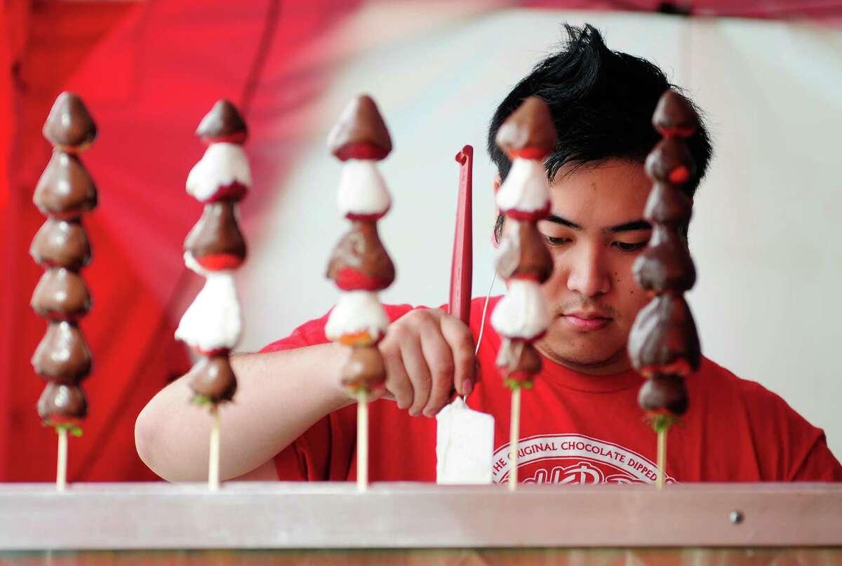 Matt Kimura helps prepare a Shishkaberry.