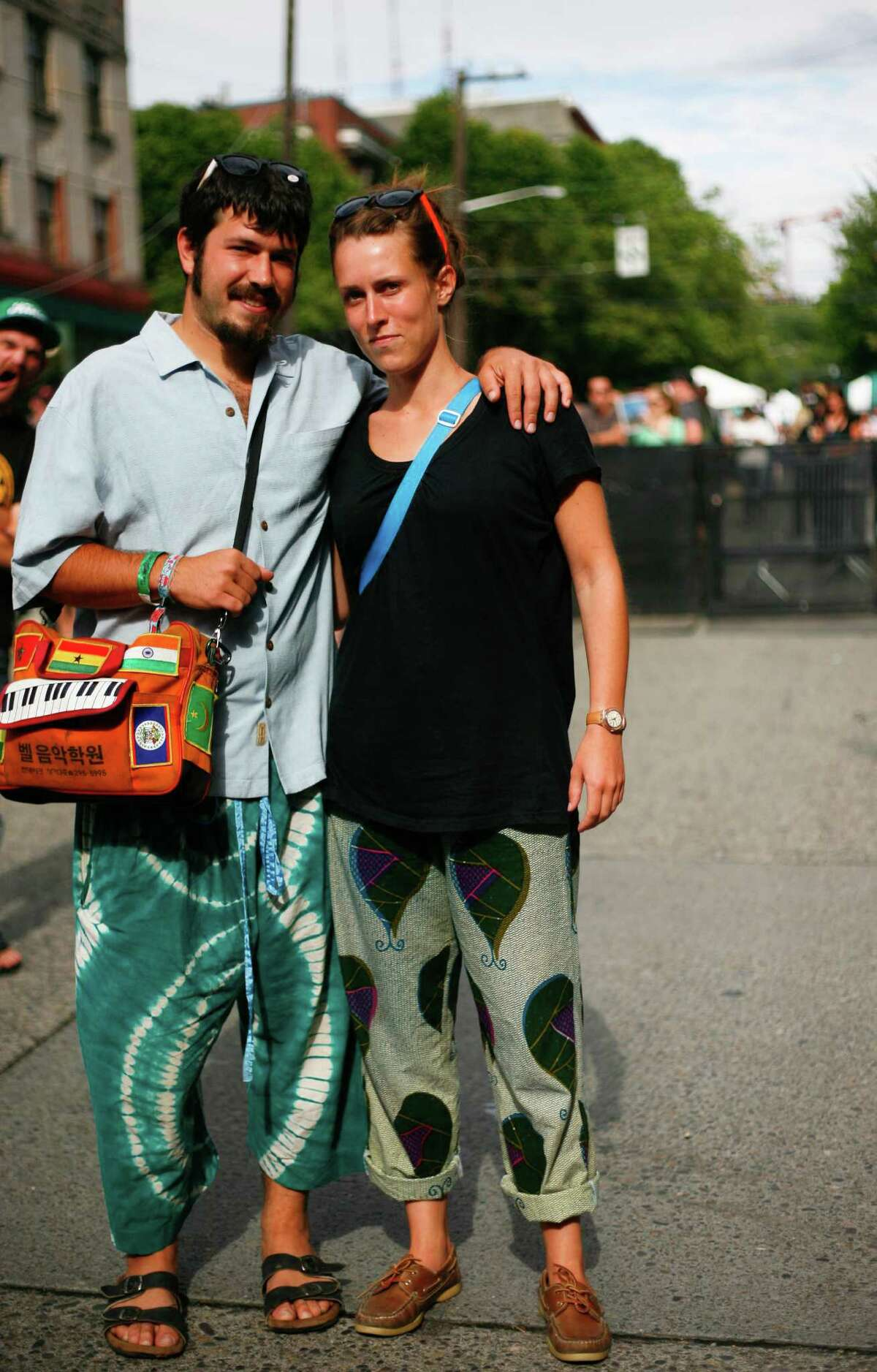 Joey Anchondo and Lize menard sport colorful pants.