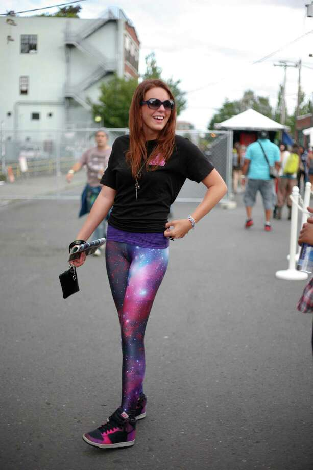 Jensina Maggard sports  galaxy print pants. Photo: Sofia Jaramillo / SEATTLEPI.COM
