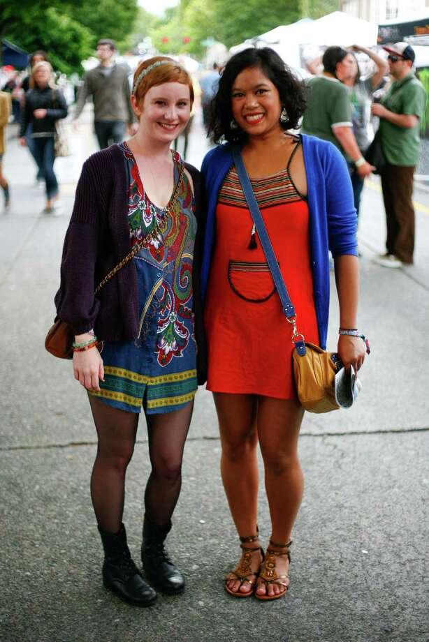 Natalie Chadbourne and Maggie Hotkhaiss are shown wearing dresses. Photo: Sofia Jaramillo / SEATTLEPI.COM