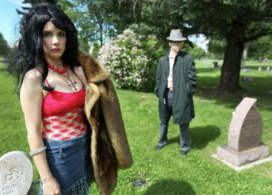 """Rachel Gregory will portray """"Eklutna Annie,"""" said to be the first of serial killer Robert Hansen's 17 victims, and Jeff Aldrich will portray a detective in this year's tour of notable cemetery residents in Anchorage. Photo: JR Ancheta / Anchorage Daily News"""