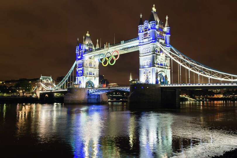 The Olympic rings hang from Tower Bridge, one week before the Opening ceremonies for the 2012 Summer
