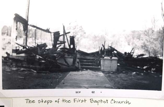 A historical image of the total devastation of the First Baptist Church in Berlin, N.Y. after the propane fire in 1962.  (Times Union archive) Photo: Skip Dickstein / 00018270A