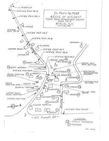 This map, prepared as part of the then federal Interstate Commerce Commission's investigation of the deadly July 25, 1962 blast that killed 10 people in Berlin, shows where the truck crashed and exploded and pinpoints the locations of buildings that were burned and leveled by the blast.