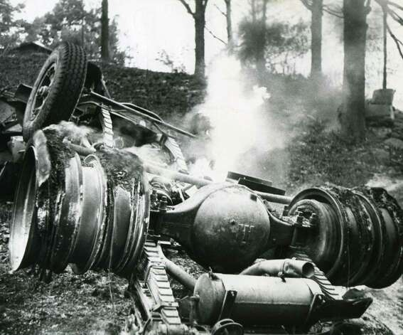 Scene of the Berlin propane fire dated July 26 1962.  A propane tanker truck exploded after the driver lost control on Plank Road hill. The explosion left 10 people with fatal burns and set nearby buildings on fire. Another 18 people were injured, many permanently. (Times Union archive)