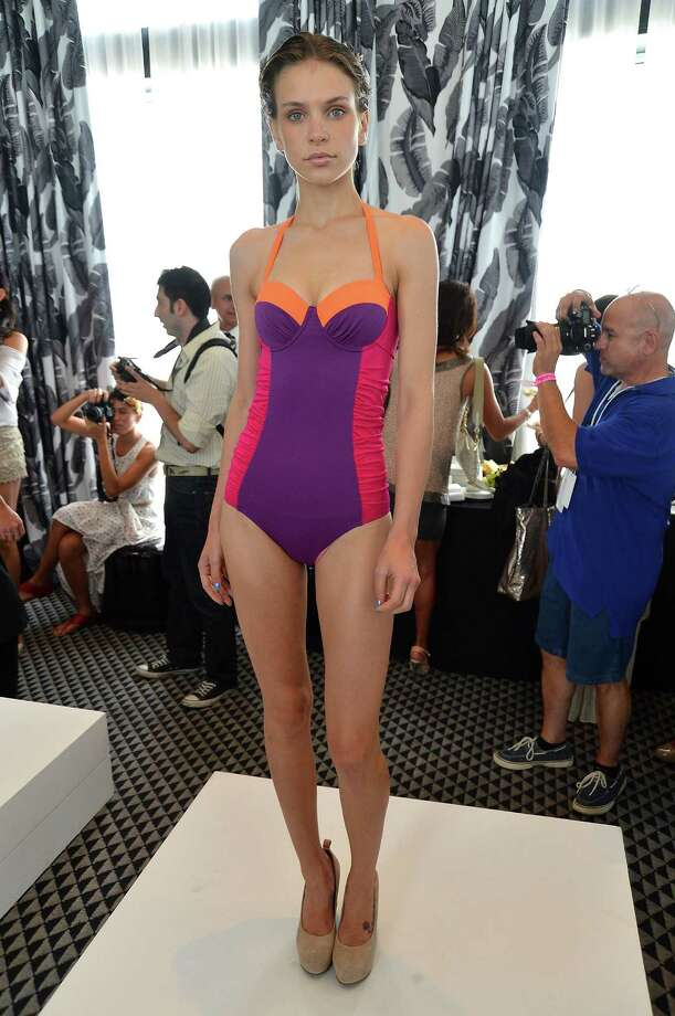 A model poses at the Kooey Australia presentation. Photo: Frazer Harrison, Getty Images For Mercedes-Benz Fashion Week Swim 2013 / 2012 Getty Images
