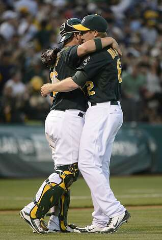 OAKLAND, CA - JULY 21: Sean Doolittle #62 and Derek Norris #36 of the Oakland Athletics celebrates defeating the New York Yankees 2 to 1 at O.co Coliseum on July 21, 2012 in Oakland, California. (Photo by Thearon W. Henderson/Getty Images) Photo: Thearon W. Henderson, Getty Images