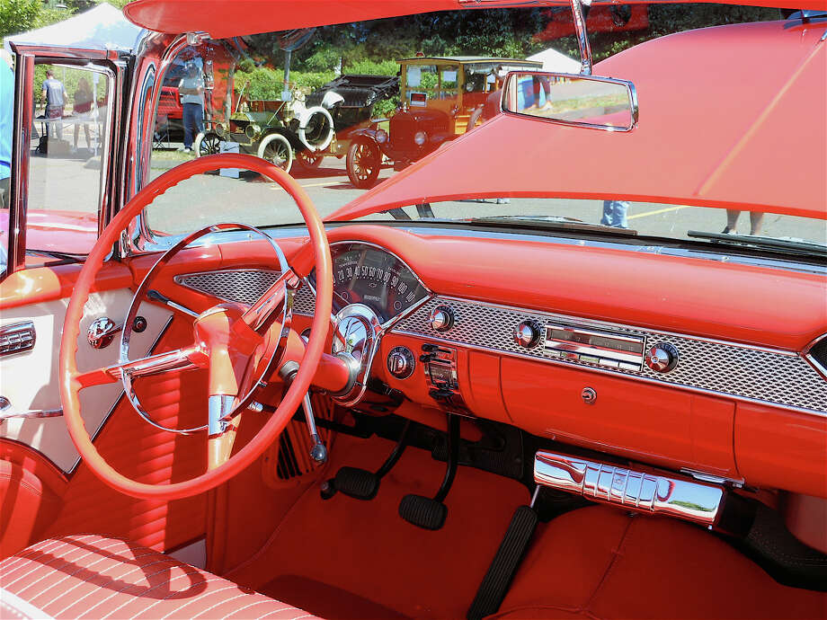 "The ""cockpit"" of a gypsy red 1955 Chevy Bel Air Convertible, owned by Otto and Betty Patzelt of Fairfield, at the ""Fired Up"" Car Show benefiting the Southport Volunteer Fire Department on Saturday. Photo: Mike Lauterborn / Fairfield Citizen contributed"