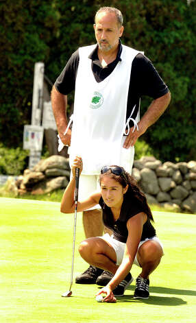 Rima Antous plays in the 22nd Annual Danbury Amateur golf championship at Richter Park Golf Course Sunday, July 22, 2012. Photo: Michael Duffy / The News-Times