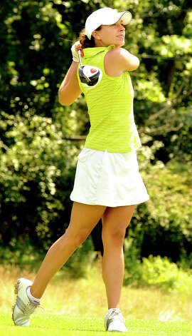 Jenifer Tierney plays in the 22nd Annual Danbury Amateur golf championship at Richter Park Golf Course Sunday, July 22, 2012. Photo: Michael Duffy / The News-Times