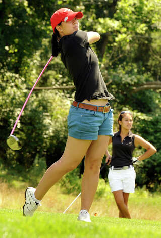 Stephanie Ko plays in the 22nd Annual Danbury Amateur golf championship at Richter Park Golf Course Sunday, July 22, 2012. Photo: Michael Duffy / The News-Times