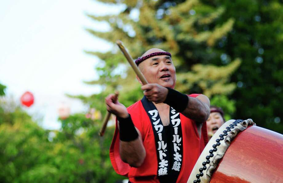 Gary Tsujimoto performs with One World Taiko. Photo: LINDSEY WASSON / SEATTLEPI.COM